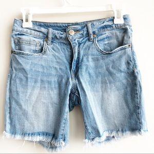 F21 Light Wash Cut Off Bermuda Denim Shorts